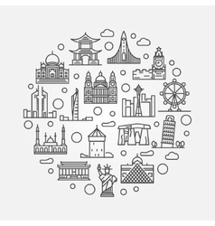 World landmarks circular vector