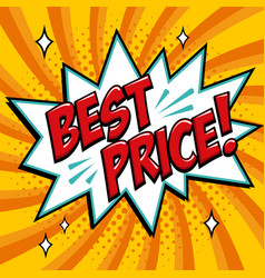 best price - comic book style word on a yellow vector image vector image