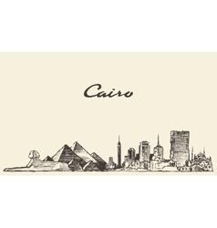 Cairo skyline Egypt drawn sketch vector image