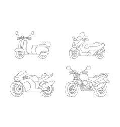 linear motorcycles set vector image