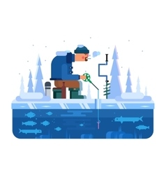 Man on winter fishing vector image vector image