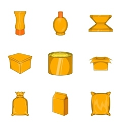 Package icons set cartoon style vector