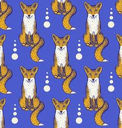 Sketch Fox seamless pattern vector image