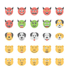 smiley flat icons set 37 vector image