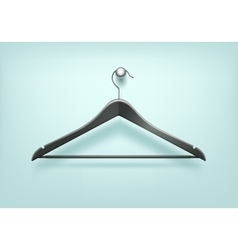 Clothes Coat Plastic Black Hanger on Background vector image