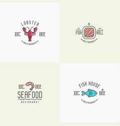 four styles for logo of fish or sushi restaurant vector image vector image