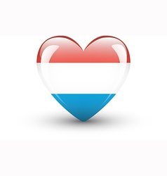 Heart-shaped icon with national flag of Luxembourg vector image