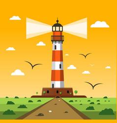 lighthouse sunset nature landscape cartoon vector image vector image