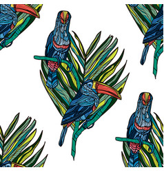 seamless pattern with toucans vector image vector image
