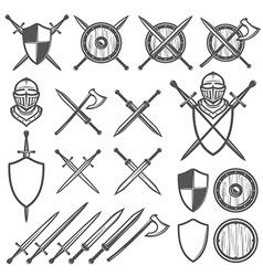 Set of medieval swords shields design element vector image vector image