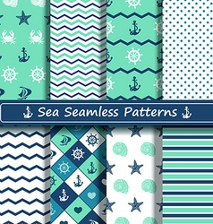 Set of sea seamless patterns vector image vector image