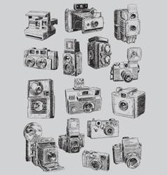 Sketchy Vintage Camera Set vector image vector image