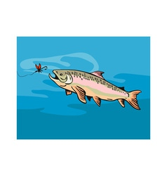 Trout Fish with Bait vector image vector image