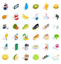 vigorous icons set isometric style vector image vector image