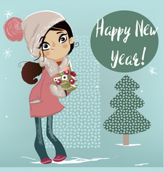 cute winter girl with christmas tree vector image