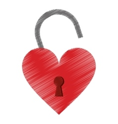 drawing padlock shaped heart loved vector image
