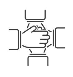Friendship icon team together teamwork line vector image