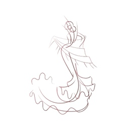 Gesture drawing flamenco dancer expressive pose vector image