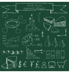Hand drawn infographic elements Sketching vector image
