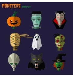 Monsters set of icons vector image vector image