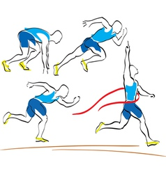 Set of running man crossing the finishing line vector image vector image