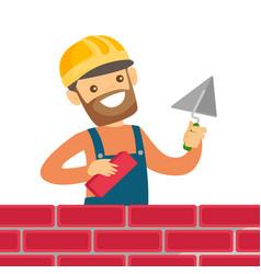 Caucasian white bricklayer building a brick wall vector