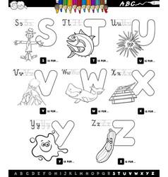 educational cartoon alphabet set coloring book vector image vector image