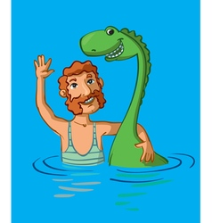 Loch Ness monster and man vector image