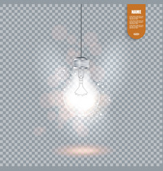 realistic image of glowing light bulb isolated vector image vector image