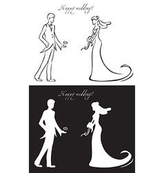 wedding day bride and groom vector image vector image