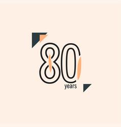 80 years anniversary retro line template design vector