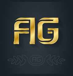 A and g - initials or golden logo ag - metallic vector