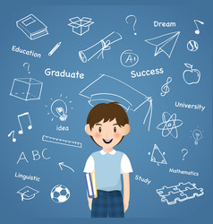 A boy with creative aducation icon infographic vector
