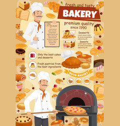 bakery menu poster of baker and pizza or desserts vector image