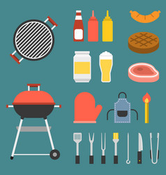 barbecue icons set vector image