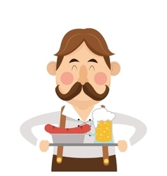 Bavarian man with beer and sausage icon vector