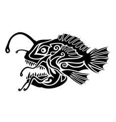 Black and white tattoo art with stylized monkfish vector