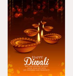 Burning diya on happy diwali holiday background vector