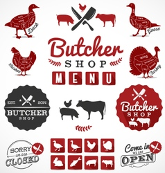 Butcher Shop Design Elements Labels and Badges vector image