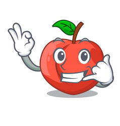 Call me fruit of nectarine isolated on mascot vector