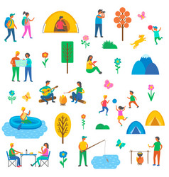 camping nature set of icons vector image