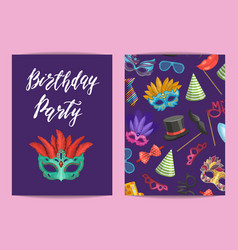 card or flyer template with masks and party vector image
