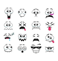 Cartoon face expressions icons isolated set vector