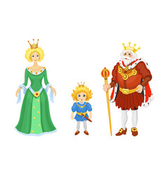 cartoon medieval characters fairy tale king queen vector image