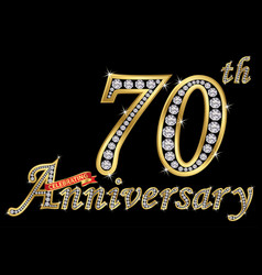 Celebrating 70th anniversary golden sign with vector