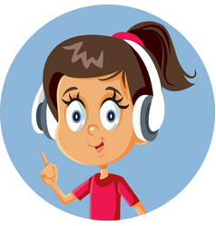 cheerful cartoon girl wearing headphones pointing vector image