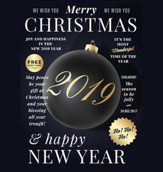 christmas greeting card poster banner or party vector image