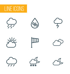 Climate icons line style set with humidity vector