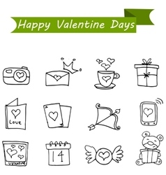 Collection stock of valentine icons vector