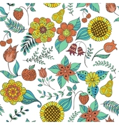 colorful floral doodle seamless pattern vector image